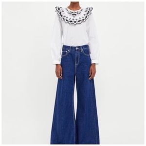 Zara Vintage High Waist Flare Jeans In Sunset Blue